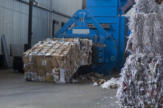 Waste paper at recycling yard