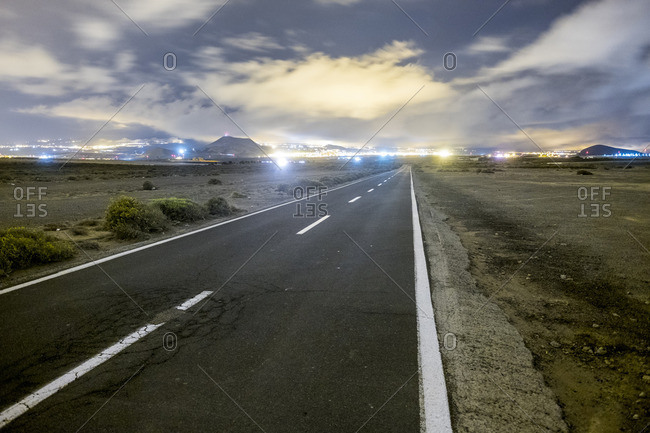 Spain- Tenerife- empty road at night