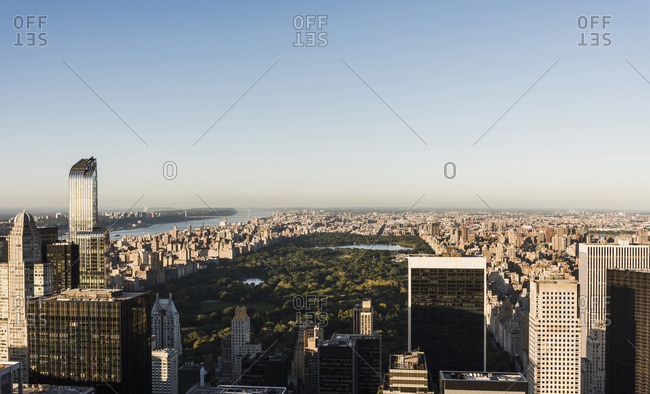 USA- New York City- cityscape with Central Park as seen from Rockefeller Center observation deck