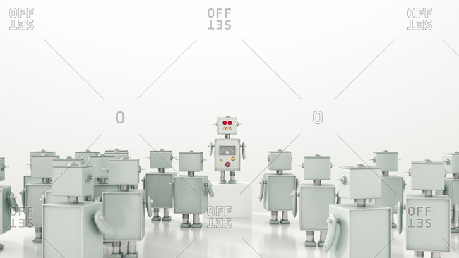 Group of robots looking at leader- 3d rendering