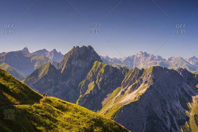 Germany- Bavaria- Allgaeu Alps- high route from Nebelhorn to Oy Valley
