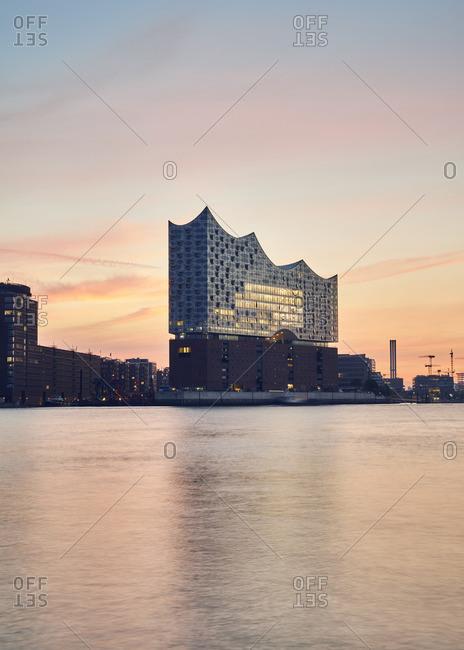 Germany- Hamburg- view to Elbe Philharmonic Hall at sunrise