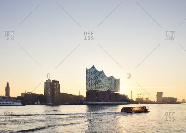 Germany- Hamburg- view to Elbe Philharmonic Hall at sunset