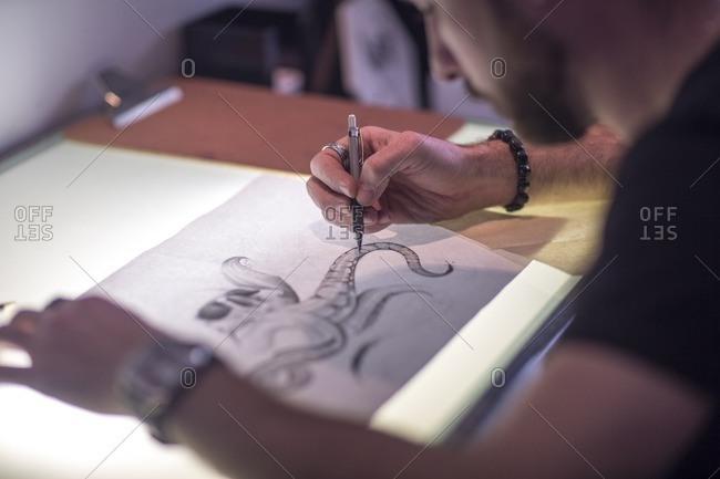 Graphic artist sketching