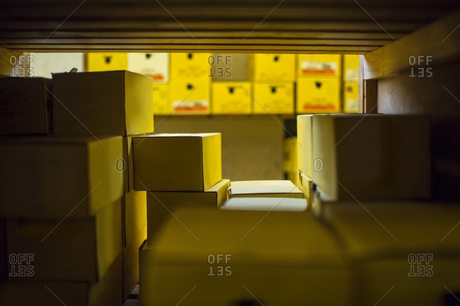 Warehouse with shoe boxes