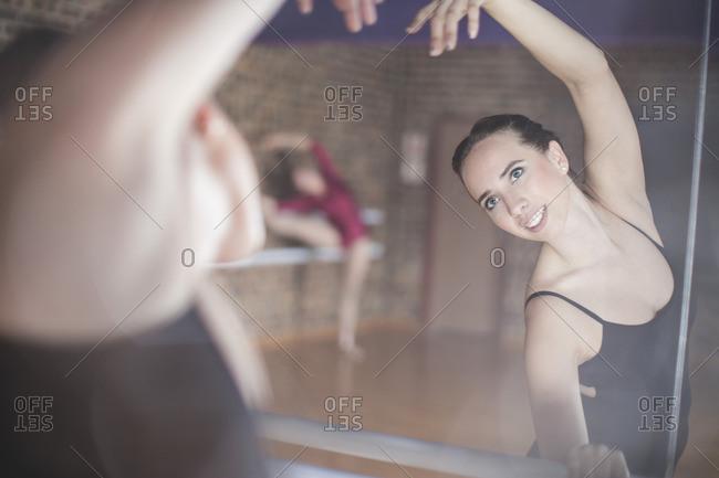 Ballet dancer exercising at studio