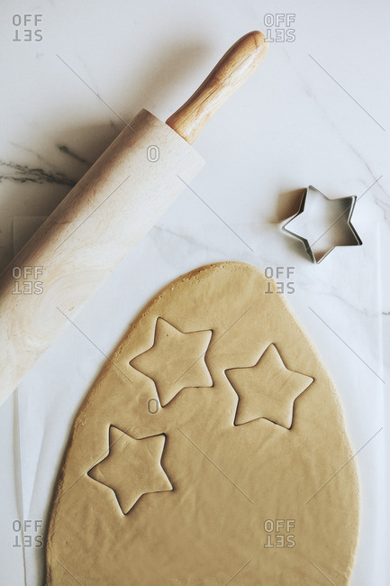 Christmas cut-out cookies being prepared