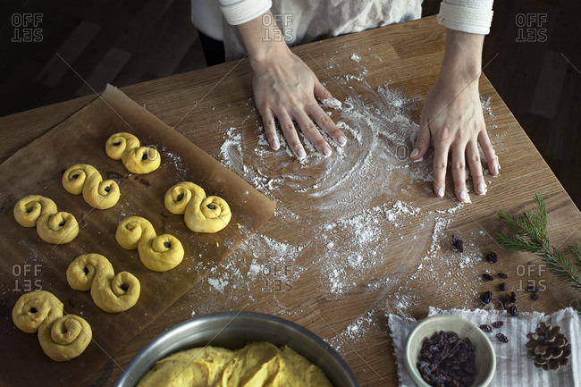 Baking Swedish saffron buns