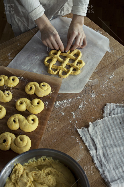 Hand shaping Swedish Christmas buns