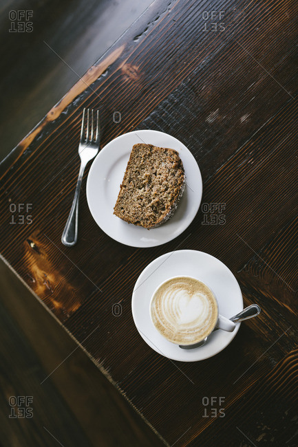 Coffee and a piece of bread