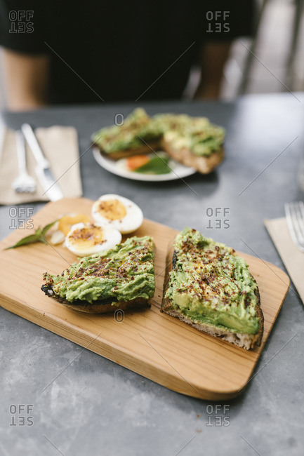 Avocado and egg with toast