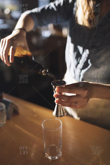 Barista preparing a coffee drink