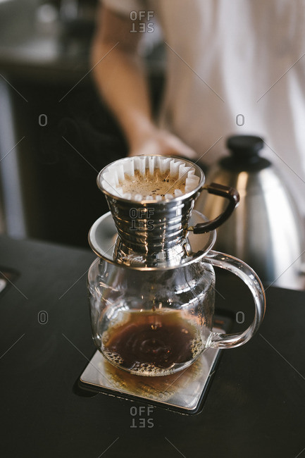 Coffee brewing in pour-over pot