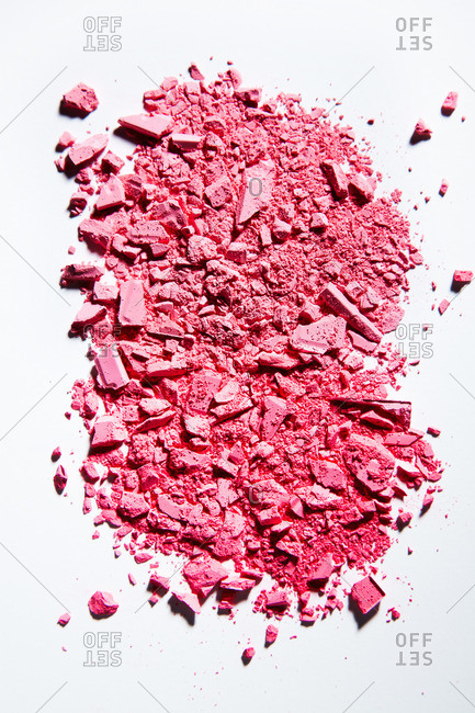 Crushed pink cosmetic powder
