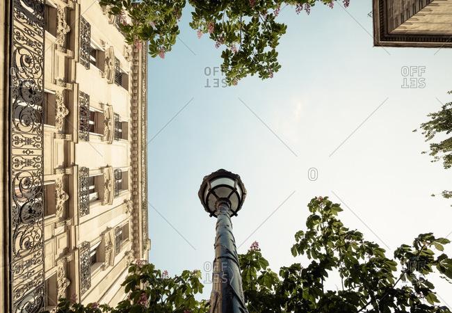 Lamppost and building against sky, Paris