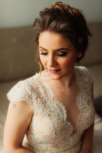 Portrait of bride in lace dress