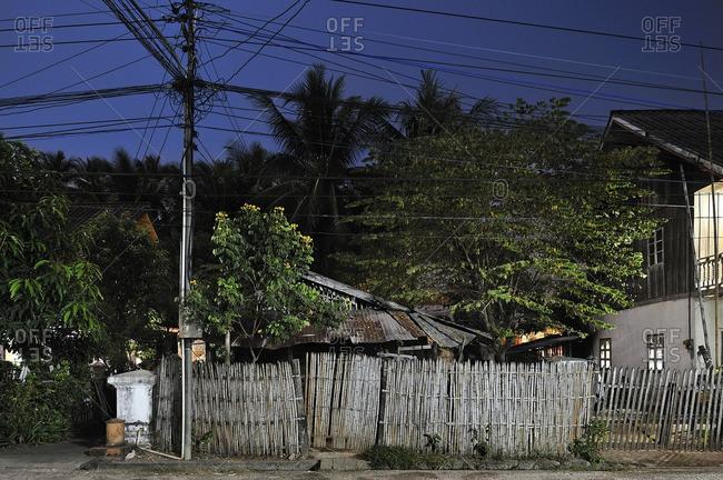 Dilapidated house at night, Luang Prabang, Laos