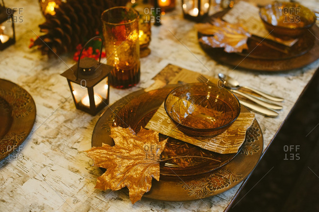 Table set for autumnal dinner