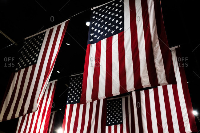 American flags hanging indoors