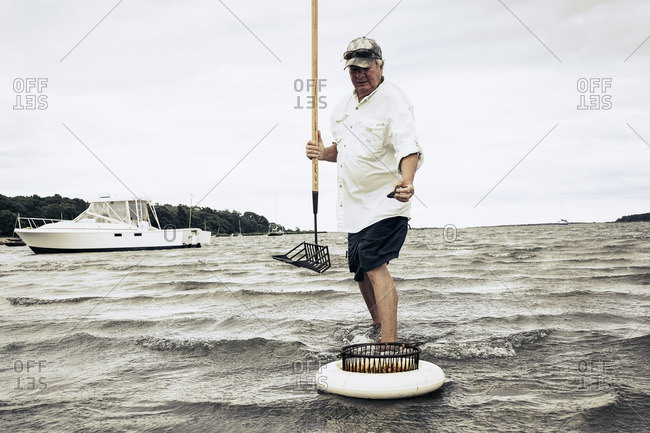 Man holding rake placing clam in basket
