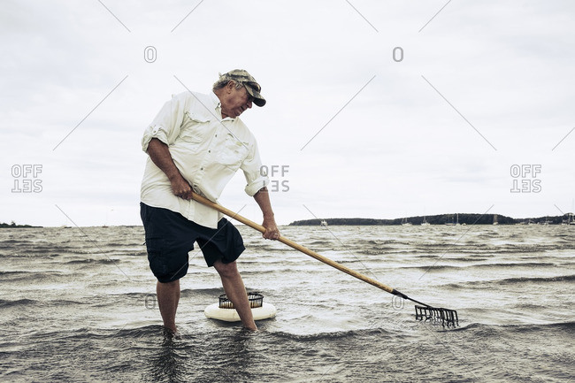 Man wading in ocean clamming