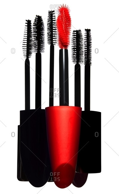 Group of red and black mascara wands
