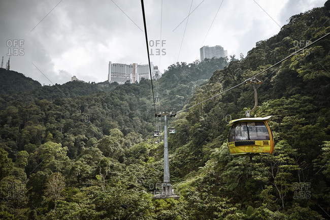 Pahang, Malaysia - October 12, 2016: Gondola on a cable in the Genting highlands in the middle of the jungle in Malaysia