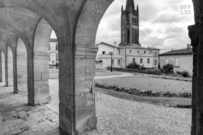 View to Gothic bell tower of Monolithic church in Saint-Emilion, France