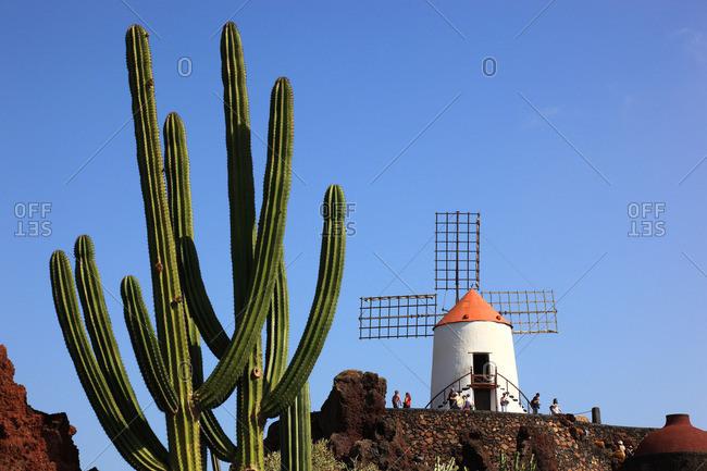 Canary islands, Spain - October 12, 2016: Gofio mill and Jardin de Cactus in Guatiza, Lanzarote, Canary islands, Spain