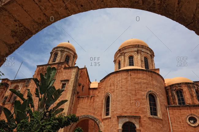 Low angle view of domes on the Agia Triada Monastery in the Akrotiri peninsula, Chania, Crete, Greece