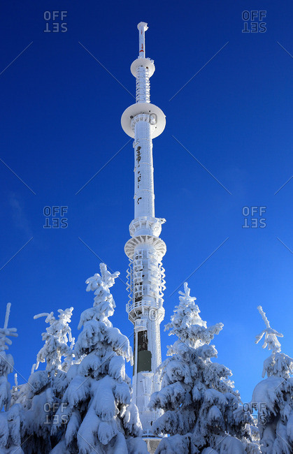 Transmitter and directional radio tower, Ochsenkopf, Fichtelgebirge Mountains, Germany