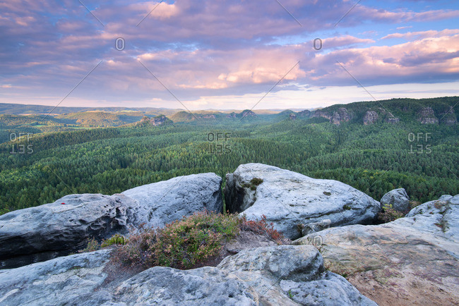 Mountain view at sundown, Saxon Switzerland National Park, Saxony, Germany
