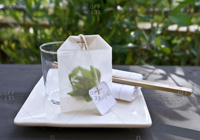 Tea bag with Caroline tag