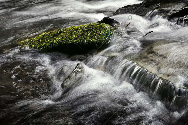 Mossy stone in a rushing brook