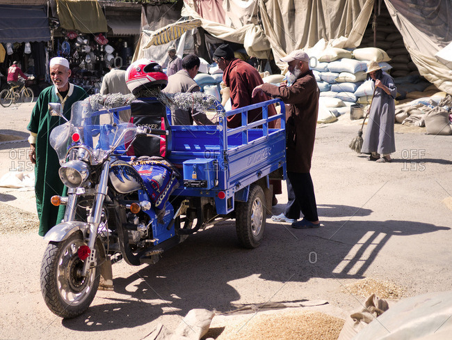 Taroudannt, Morocco - October 13, 2016: Delivery of goods and dealer on a Marktplatz in Morocco