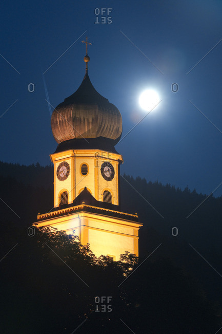 Steeple St. Trudpert's Abbey at night, Baden-Wurttemberg, Germany