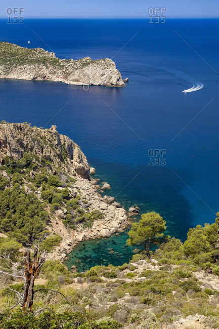 View of Sa Dragonera island to the west the island Majorca, the Balearic Islands, Spain