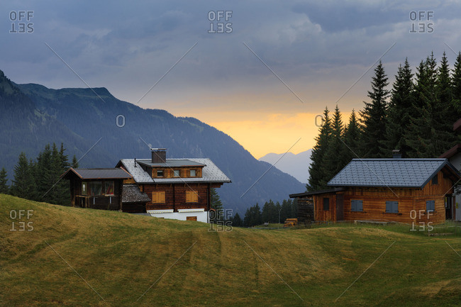 Sundown over cabins in Vorarlberg, Austria