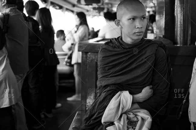 Bangkok, Thailand - October 13, 2016: Black and white portrait of a monk in Bangkok
