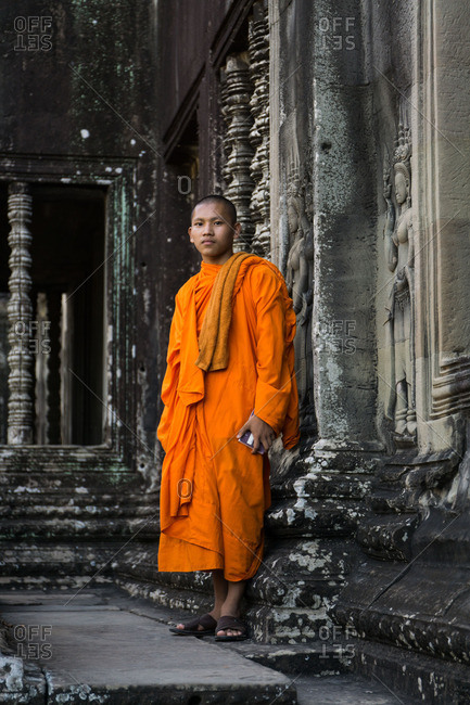 Siem Reap, Cambodia - October 13, 2016: Monk in Siem Reap, Cambodia