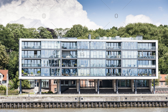 Hamburg, Germany - October 13, 2016: Stilt house on the harbor in Hamburg