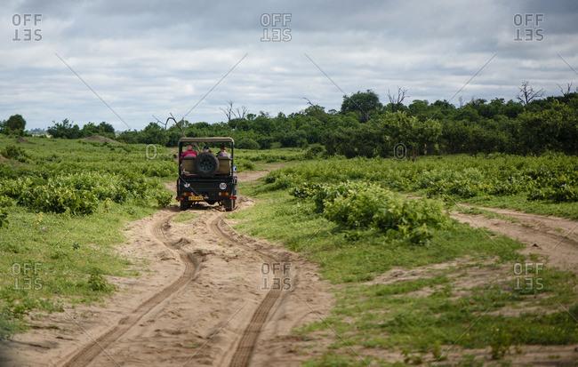 Botswana, Africa - October 13, 2016: Vehicle driving on safari tour through the Chobe National Park in Botswana