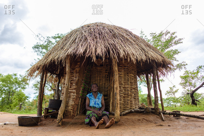 Zambia - October 13, 2016: The oldest inhabitant of a village in Zambia
