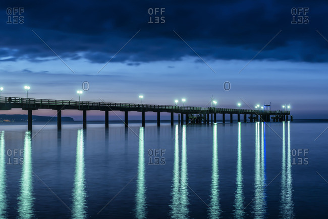 Pier in Binz at night, Mecklenburg-Western Pomerania, Germany