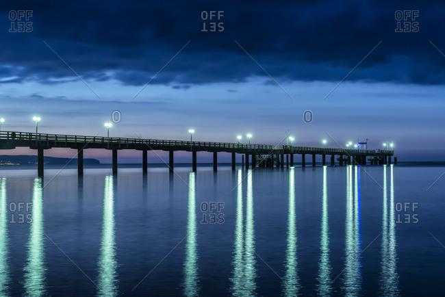 Pier in Binz at night, Mecklenburg-Western Pomerania, Germany