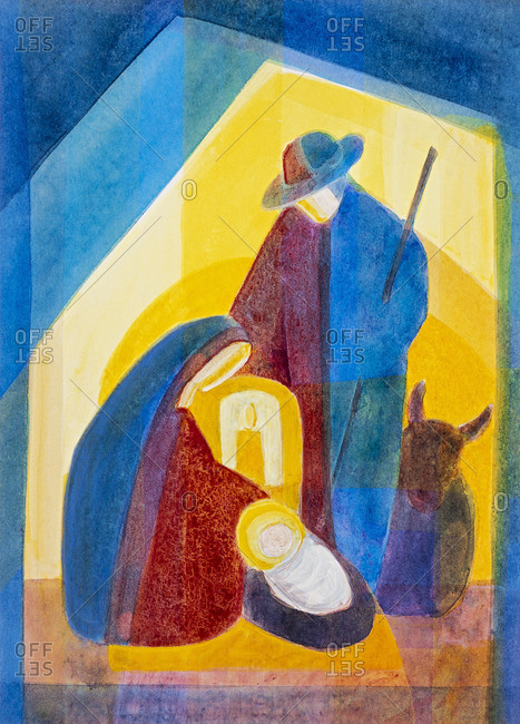 Holy family of Bethlehem in the stable