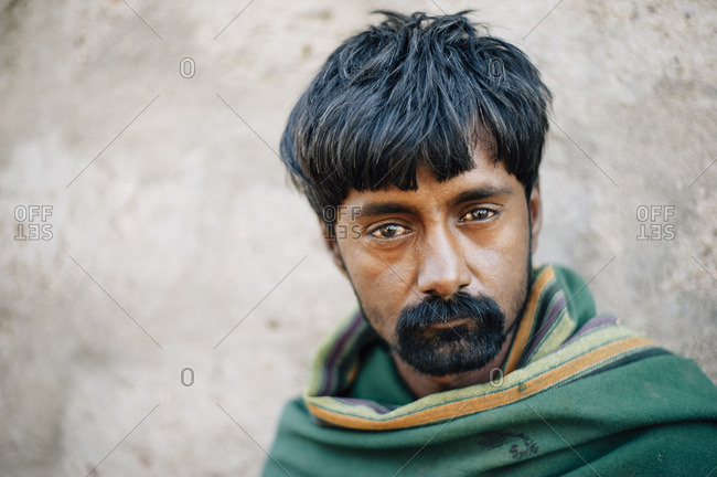 Gujarat, India - October 14, 2016: Portrait of a nomad in the Rann of Kutch, salt desert in India