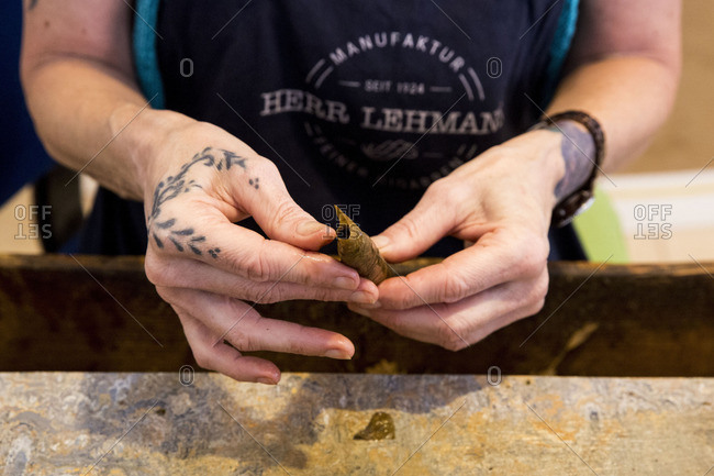 Germany - October 15, 2016: Cigar manufacture rolling a cigar by hand