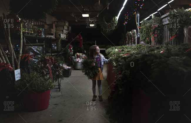 Little girl looking at greenery for Christmas decorations