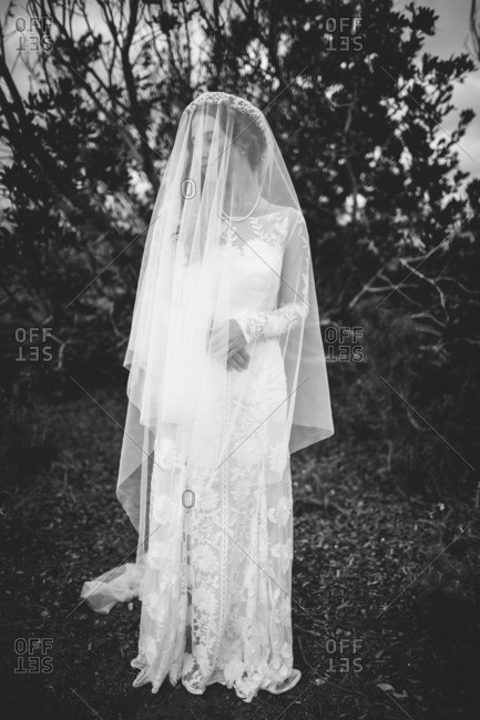 Bride in a long veil standing outdoors